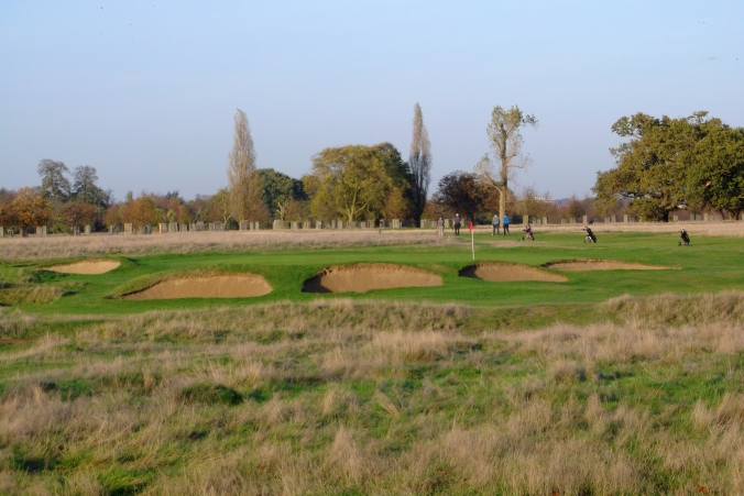 The approach shot to a green at the Hampton Court Palace Golf Course.