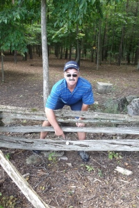 On the fence at Black Bear Ridge Golf Course.